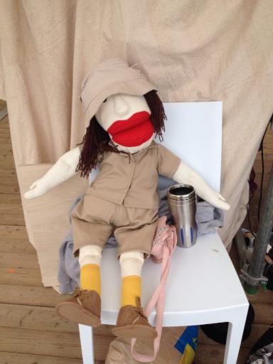 Mary Leakey the puppet chilling behind the scense at the Cheltenham Science Festival