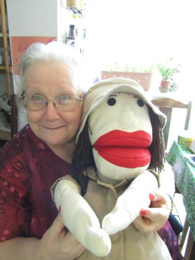 Mary Leakey the puppet with one of her creators Angie Pym