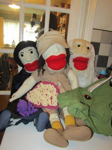 Cuddly Sciences Paleo Puppet Posse with props!