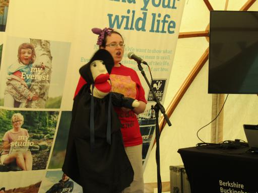 Mary Anning the puppet explaining how she discovered fossilised ink sacs at Country File Live