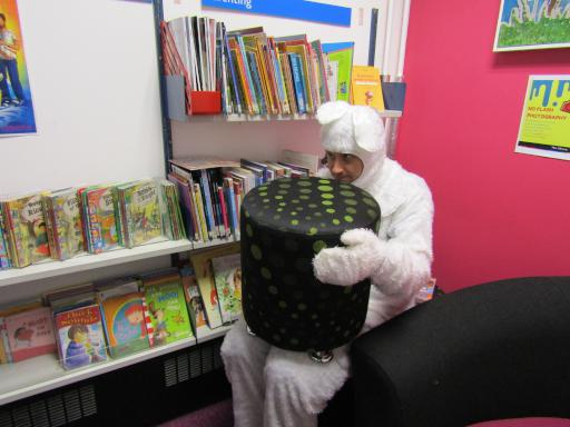 A Hiding Baby Yeti at the Cheltenham Library Fun Palace Event 2017