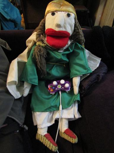 Aethelflaed the Puppet relaxing after a long couple of days in London